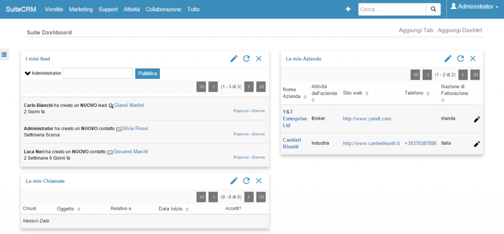 SuiteCRM - Open Source CRM in italiano